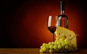 Picture cheese, bottle, grapes, background, glass, wine