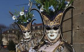 Wallpaper flowers, mask, pair, costume, Venice, carnival
