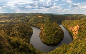 Picture the view from the top, trees, panorama, Vltava, Prague, Czech Republic, clouds, the sky, rocks, …