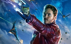 Picture Star-Lord, Guardians of the Galaxy, Chris Pratt, Planet, Situation, Space, Battleship, Peter, Guns, Pistols, Quill, ...