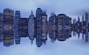 Wallpaper fog, reflection, New York, Manhattan, harbour