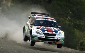 Picture Auto, Speed, Lights, Rally, Rally, Skoda, Fabia, In The Air, Skoda