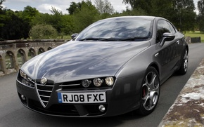 Wallpaper lights, the hood, Alfa Romeo, car, beautiful, the front, Brera S
