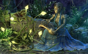 Wallpaper pitcher, the girl of metal, plants