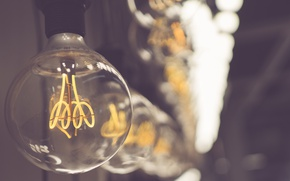 Wallpaper light bulb, bokeh, macro, lamp