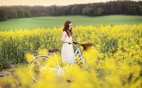 Picture field, girl, joy, flowers, yellow, nature, bike, smile, background, Wallpaper, mood, sport, dress, widescreen, full ...