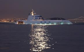 Picture night, lights, mountain, the evening, yacht, bridges, yacht, sea., naght, mega yacht, super yacht, mega ...