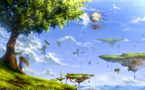 Picture the sky, girl, clouds, landscape, birds, nature, tree, anime, art, guides-guides
