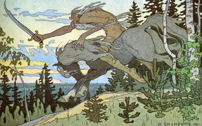 Picture forest, tree, ate, Kashchei The Immortal, Bilibin Ivan Yakovlevich (1876-1942)