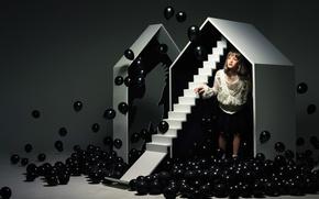Picture balls, house, black