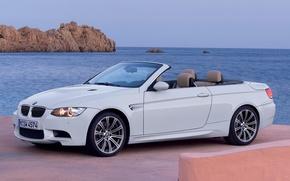 Picture sea, rocks, BMW, promenade, Cabrio, 4-series