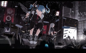 Picture girl, sign, guitar, group, anime, hands, art, concert, vocaloid, hatsune miku, mivit
