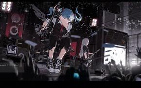Picture sign, hands, hatsune miku, mivit, art, concert, group, anime, girl, guitar, vocaloid