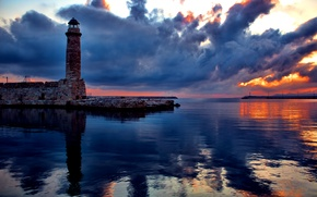 Picture lighthouse, the sky, reflection, clouds, sunset