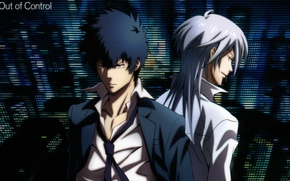 Picture tie, two guys, back to back, white shirt, suit black, Psycho-pass, Shinya Kougami, Shougo Makishima
