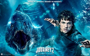 Picture bubbles, the situation, teeth, mouth, poster, under water, floats, reptile, Josh Hutcherson, Josh Hutcherson, Journey …
