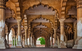 Picture the building, India, yard, arch, columns, architecture, Agra, Agra Fort