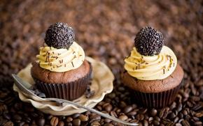 Picture coffee, chocolate, grain, candy, spoon, cream, dessert, cakes, cupcakes, Anna Verdina