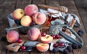 Picture cherry, berries, peaches, BlackBerry
