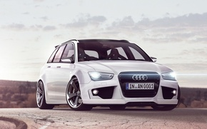 Picture Audi, white, universal, RS4, Before