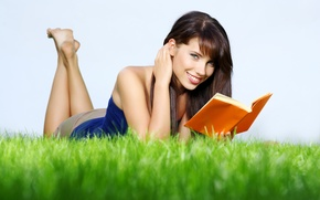 Picture grass, nature, Girl, book, smiling