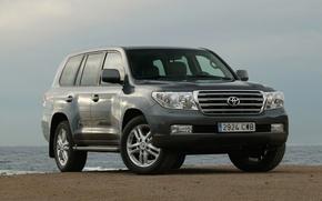 Picture sea, beach, Toyota Land Cruiser 200