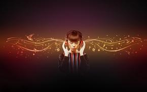 Wallpaper Music, headphones, girl