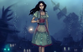 Picture bubbles, blood, the game, dress, art, Alice, knife, under water, Alice: Madness Returns