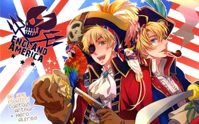 Picture gun, gold, skull, tube, hat, parrot, gloves, pirates, flags, art, England, saber, Axis Powers, Hetalia, …