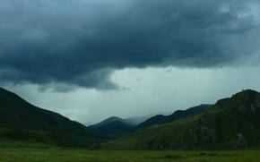 Picture mountains, clouds, dal, Altay