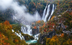 Picture autumn, trees, rocks, waterfalls, Croatia, Plitvice