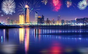 Picture the sky, night, lights, river, holiday, new year, beauty, skyscrapers, salute, Dubai, promenade, UAE