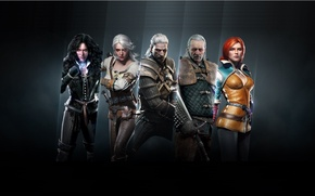 Picture sword, armor, team, The Wild Hunt, Art, The Witcher, Geralt, the main characters, CD Projekt ...