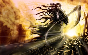 Picture girl, death, fiction, fire, flame, the wind, hair, art, skull, braid