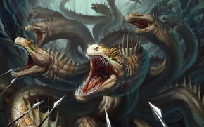 Picture fiction, art, mouth, Hydra, spears