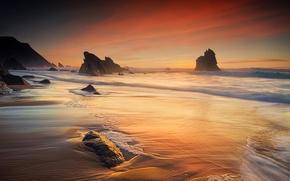 Picture sand, wave, beach, landscape, the ocean, rocks