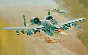 Picture war, art, painting, aviation, jet, A-10 Thunderbolt II