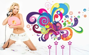 Picture girl, music, blonde, white background, singer, disk