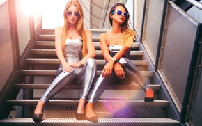 Picture style, girls, glasses, steps