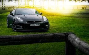 Picture GTR, Japan, Nissan, Car, Front, Black, Sun, Matte, R35, Sport, Summer, Forest, Farm
