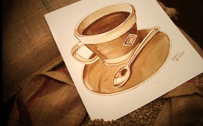 Picture paper, mood, coffee, grain, plate, spoon, mug, Cup, bag, drawn Cup of coffee