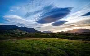 Picture field, landscape, mountains, nature, queenstown, valley, new zealand