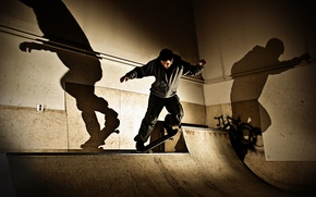 Picture shadows, skateboarding, skateboard, light, extreme sports