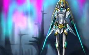 Picture girl, the city, weapons, paint, art, League of legends