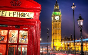 Picture road, night, the city, England, London, excerpt, lighting, lantern, UK, Big Ben, booth, phone, The ...