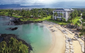 Picture beach, palm trees, the ocean, resort, Hawaii