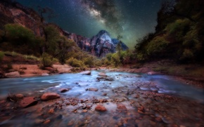 Picture stars, night, river, stones, rocks, the milky way, Zion National Park, Utah