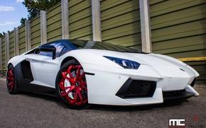 Picture Lamborghini, red, white, wheels, aventador, vellano