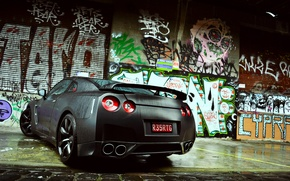 Picture graffiti, wet, nissan, gt-r, back