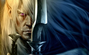 Wallpaper weapons, elf, focus, warrior, art, swords, swords, drow, dark elf, Robert Salvatore, Drizzt Do'urden, Drizzt, ...